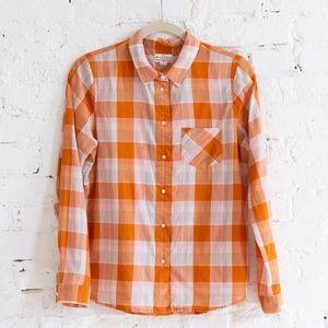 Orange plaid Broadway & Broome shirt